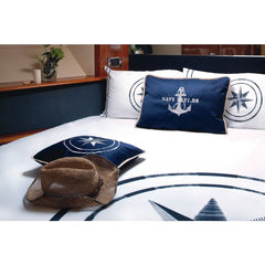 FREESTYLE - Anchor Set Of 2 Cushions 15x23in Navy Blue - Boating Chic