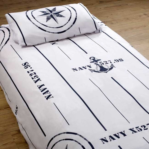 FREE STYLE Duvet Cover + Pillow Case - Single Navy - Boating Chic