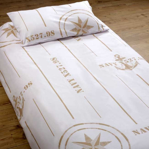 Free Style Duvet Cover + Pillow Case - Double Ecru - Boating Chic