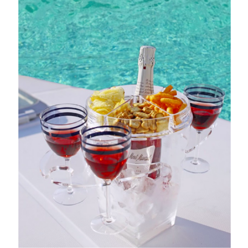 REGATA CHAMPAGNE APPETIZER SET WITH GLASS CARRIER - Boating Chic