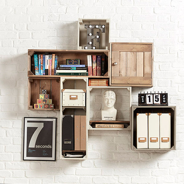 Home office quirky shelving, wall mounted shelving