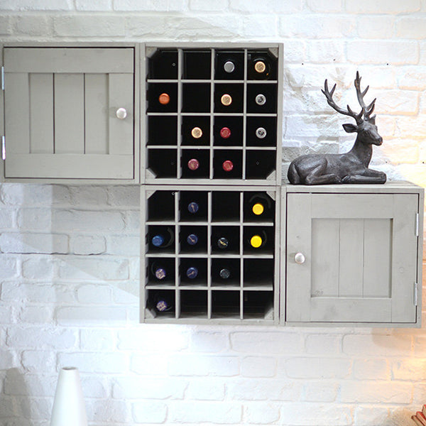 Wine crates and storage wall display