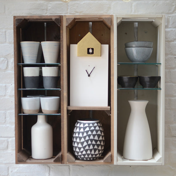 Wooden shelving gallery | Pottery and craft display