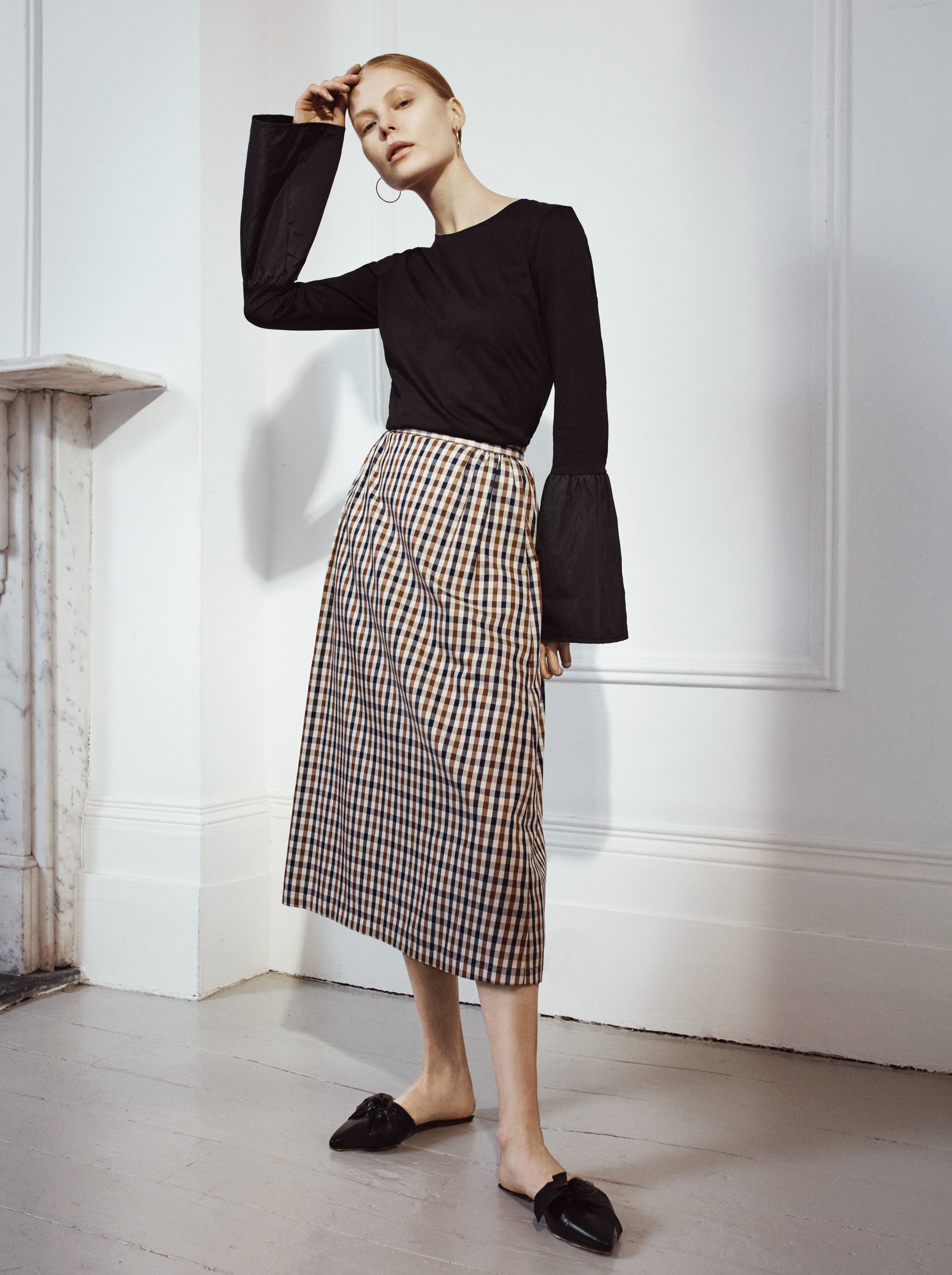 Audrey Check Midi Skirt Isabelle Fox
