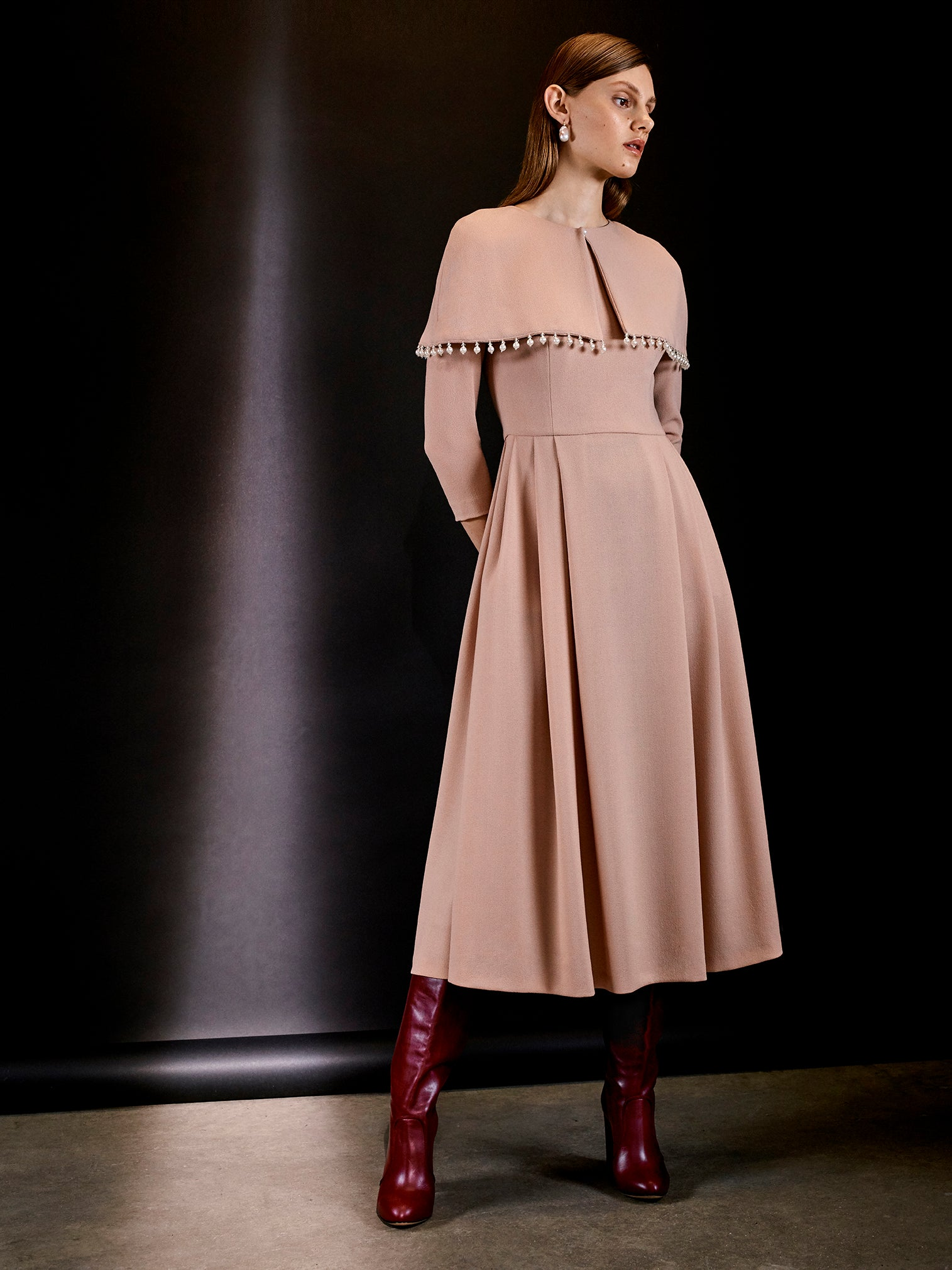 Isabelle Fox Dovima dress removable cape blush nude