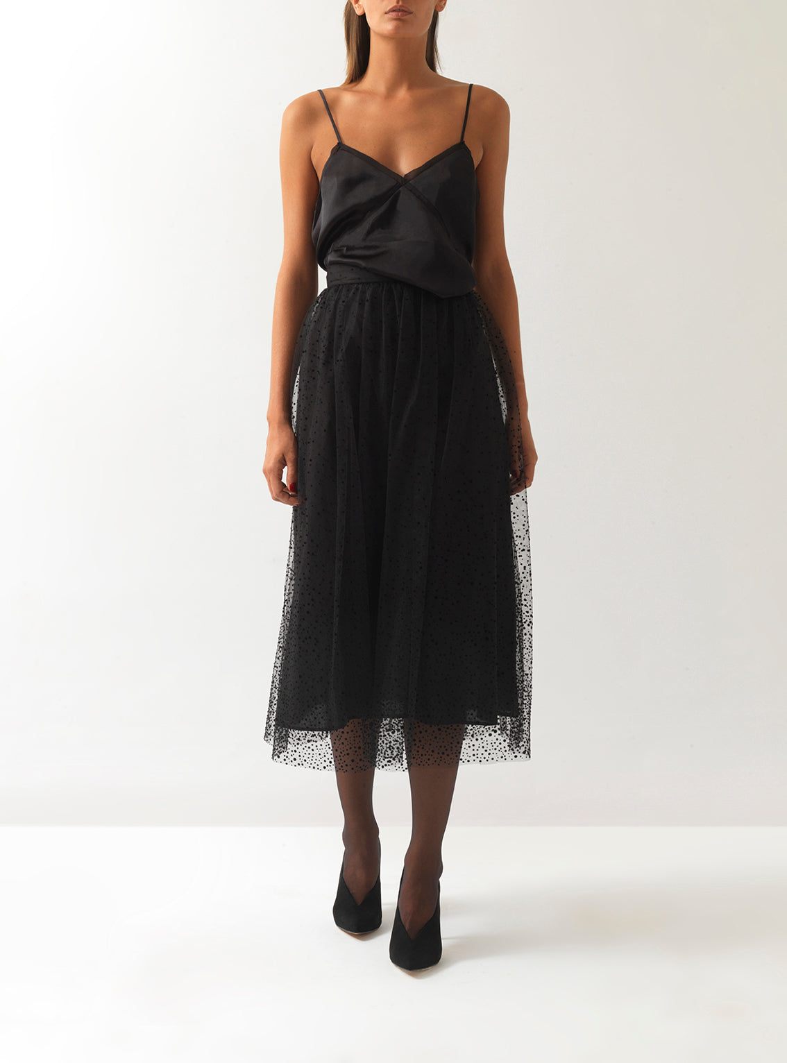 Audrey Flocked Tulle Midi Skirt