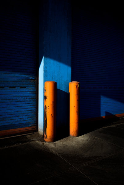 Two Orange On Blue