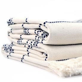 100% Cotton Throw - Natural/Navy