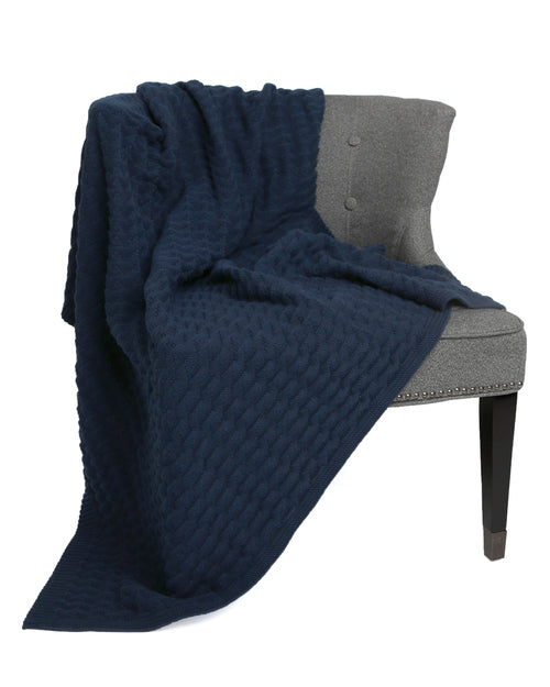 Natural Cotton Textured Blanket-Navy