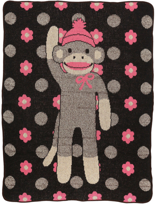 Junior Throw - Flower Sock Monkey