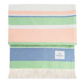 100% Cotton Sorbet Throw - Peach/Blue