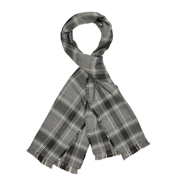 American-made Merino Wool Scarf - Bailey's Ford pattern in charcoal