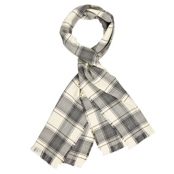 American-made Merino Wool Scarf - Bailey's Ford pattern in ivory