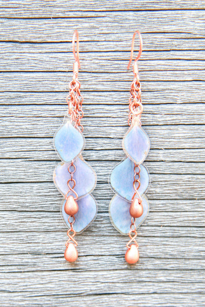 Blue Hydrangea Earrings w/Copper Glass Beads