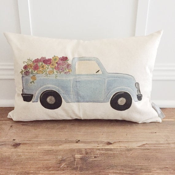 Blue Truck Pillow - 18""