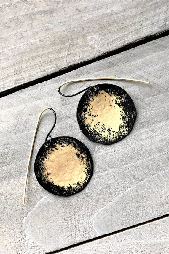Brass Earrings w/Gradient Black Finish