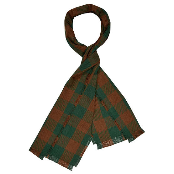 American-made Cotton Scarf - Buffalo Check in Hunter/Brown