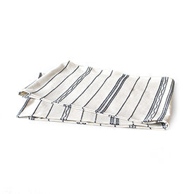 100% Cotton Table Runner - Natural/Navy Stripe