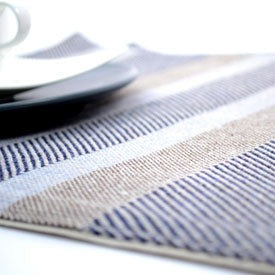 100% Cotton Placemats - Navy Stripe Marl Set/2
