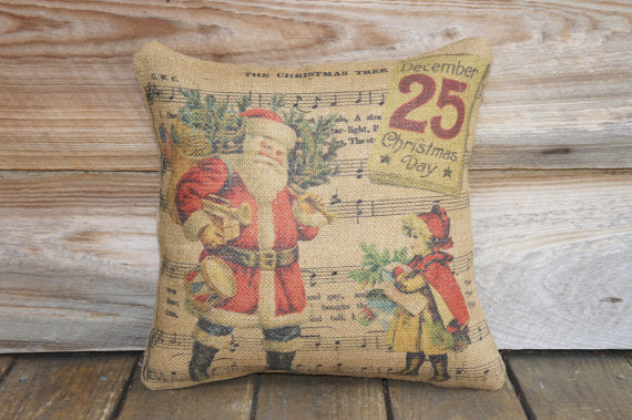 Christmas Music Burlap Pillow
