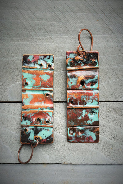 Rectangle Copper Earrings w/Turquoise Patina