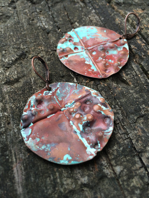 Copper Disc Earrings w/Turquoise Patina