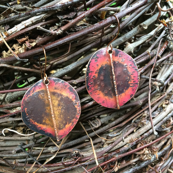 Copper Earrings w/Flame Patina