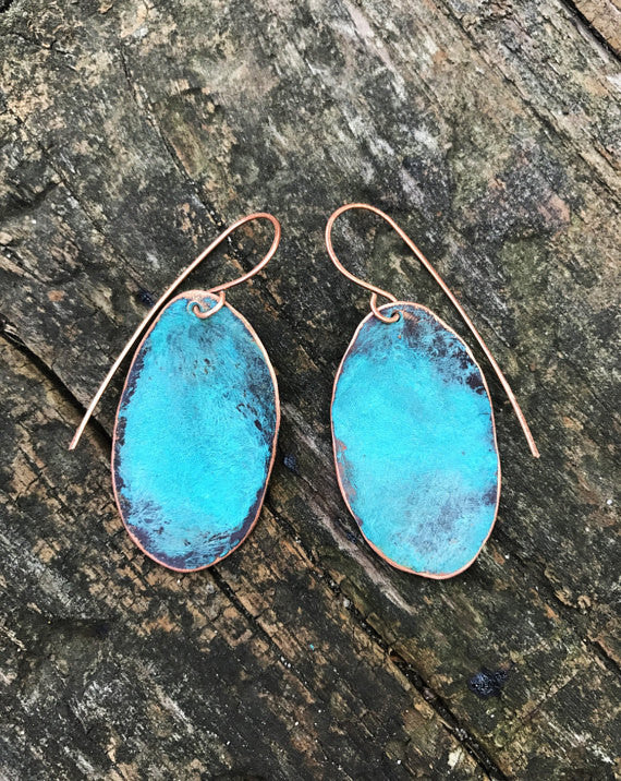 Copper Earrings w/Turquoise Patina