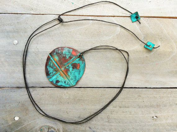 Copper Patina Pendant Necklace
