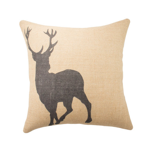 "Deer Burlap Throw Pillow - 16"" X 16"""