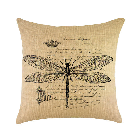 "Dragonfly Burlap Throw Pillow - 16"" X 16"""