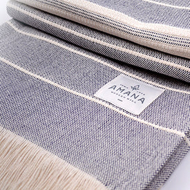 100% Cotton Throw - Navy/Natural