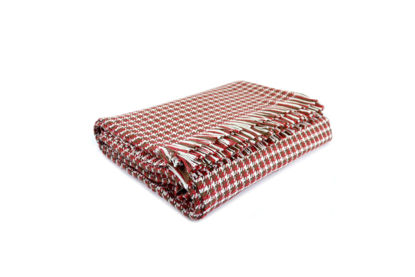 American-made 100% Cotton Throw - Houndstooth Burgundy/Brown