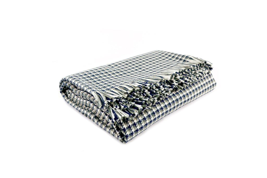 American-made 100% Cotton Throw - Houndstooth Navy/Olive