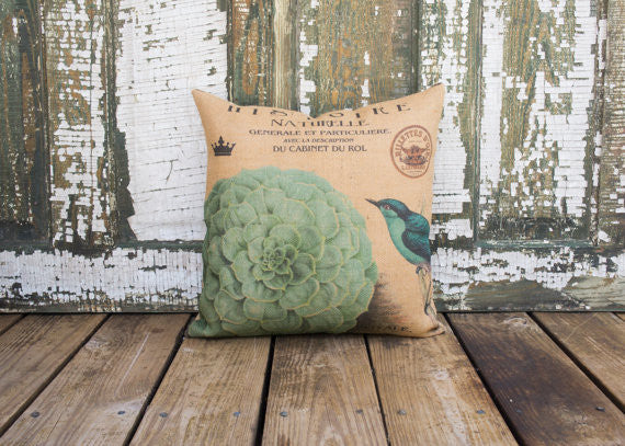 "Hydrangea Burlap Throw Pillow - 16"" X 16"""