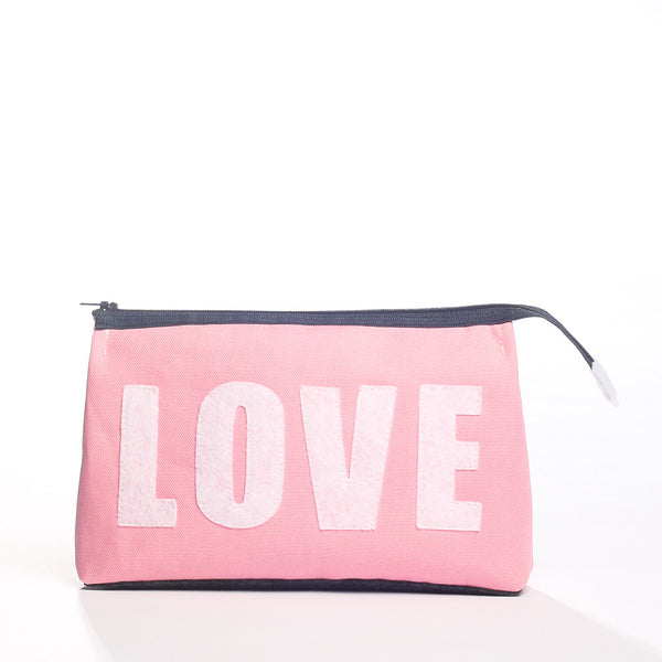 """LOVE"" Makeup Case - Cotton Canvas with Recycled Felt"