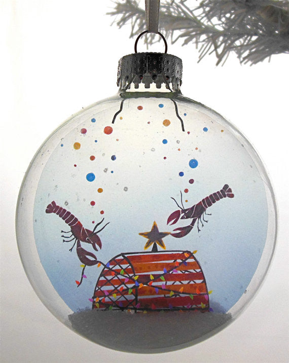 "Glass Ornament - ""Lobsters"""