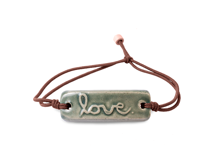 "Pottery Bracelet Cursive Stormy Sea - ""Love"""