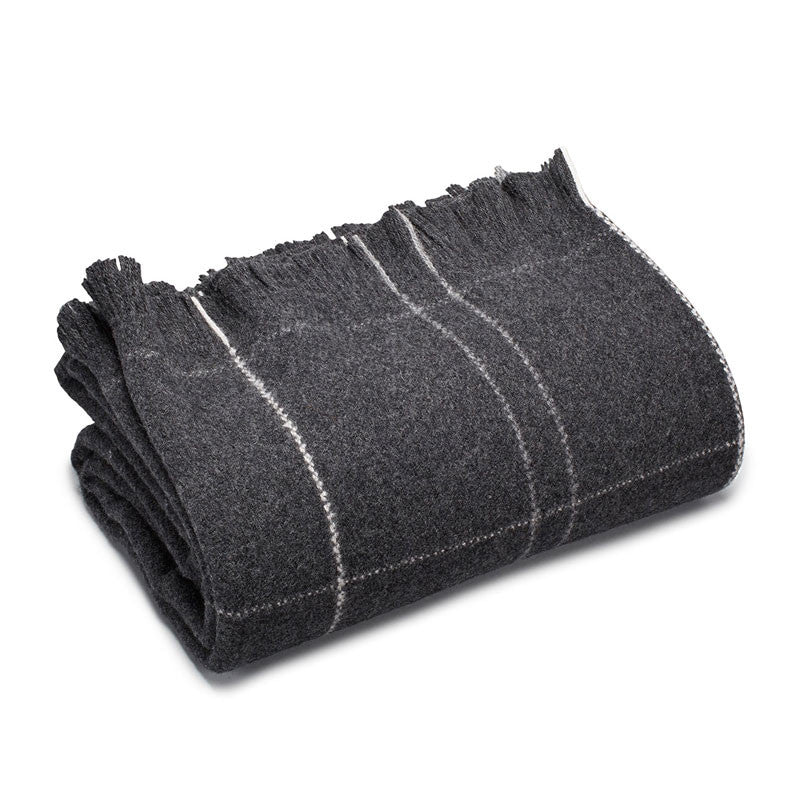 "American-made 100% Extra Fine Merino Wool Throw Blanket - Charcoal 50"" X 60"""