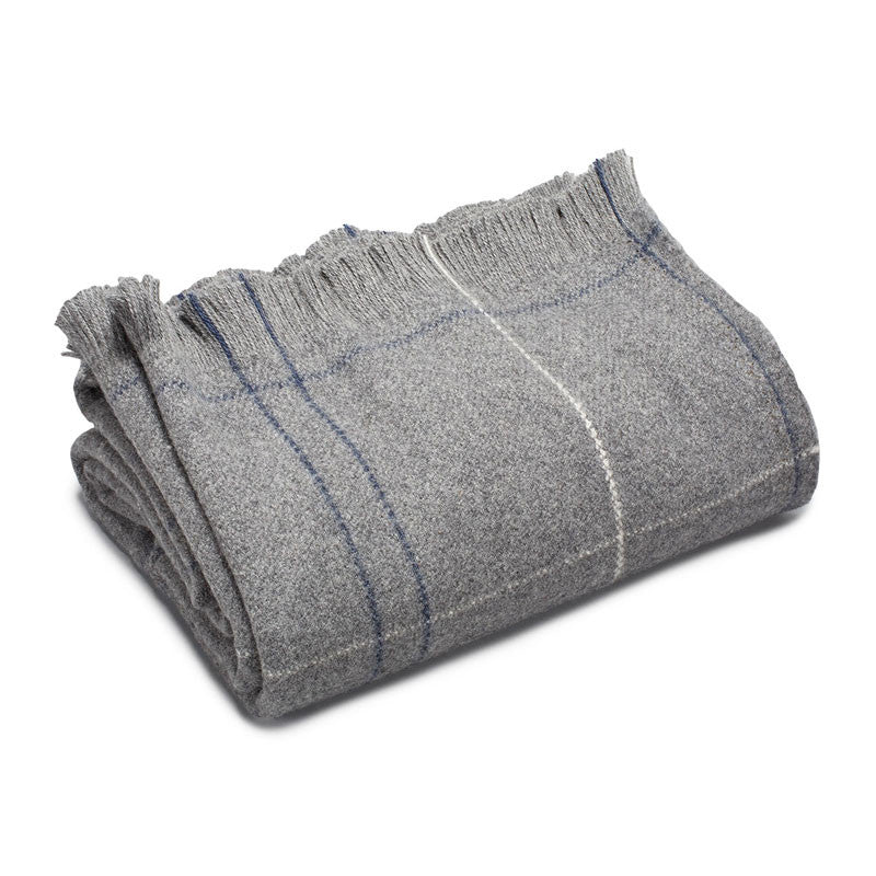 "American-made 100% Extra Fine Merino Wool Throw Blanket - Heather Grey 50"" X 60"""