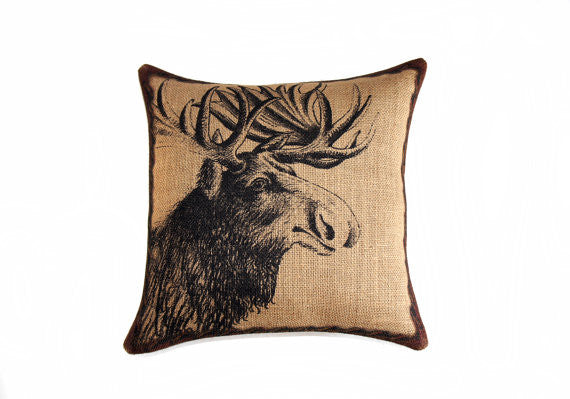 "Moose Burlap Throw Pillow - 20"" X 20"""