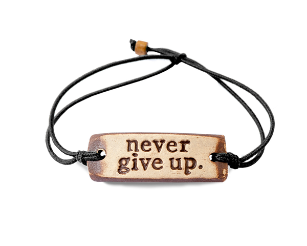 "Pottery Bracelet - ""Never Give Up"""