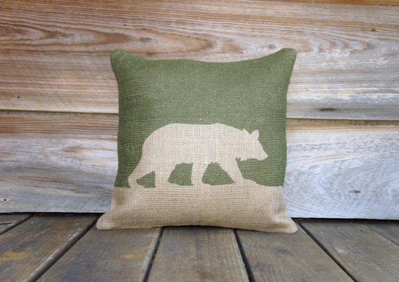"Bear Silhouette Burlap Throw Pillow - 16"" X 16"""