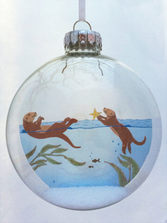 "Glass Ornament - ""Little Otters"""