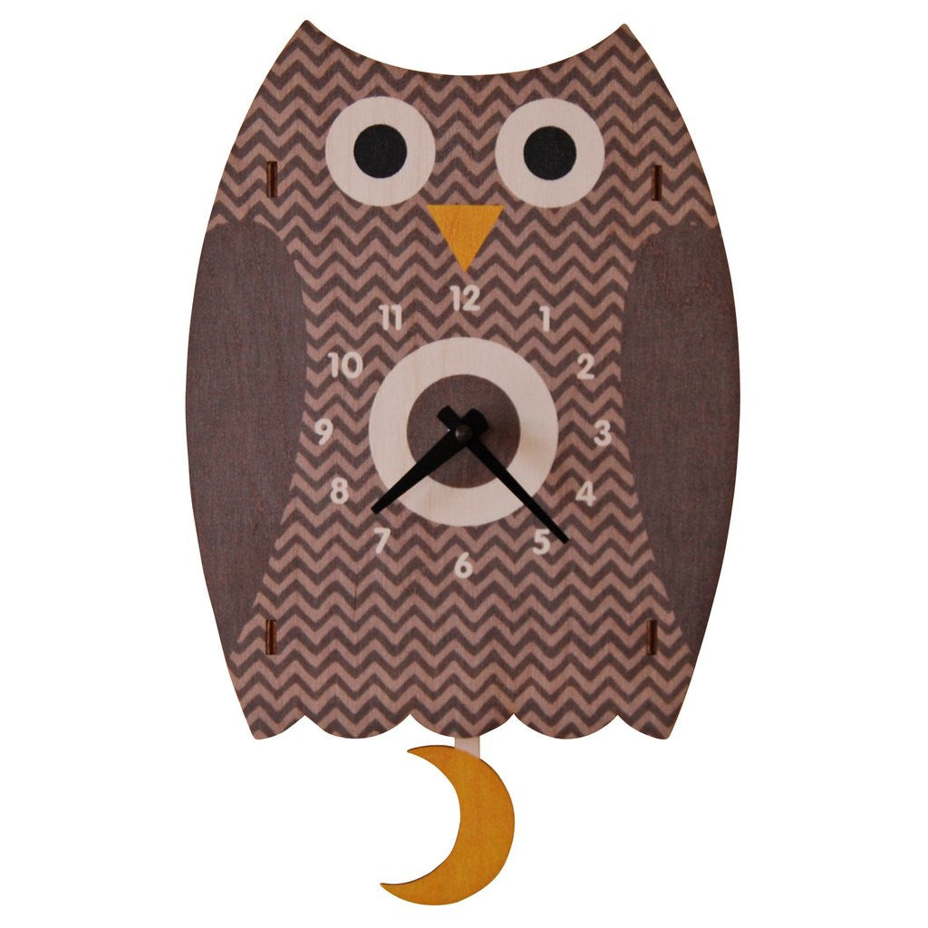 Owl Pendulum Clock - Brown  Apps   Save