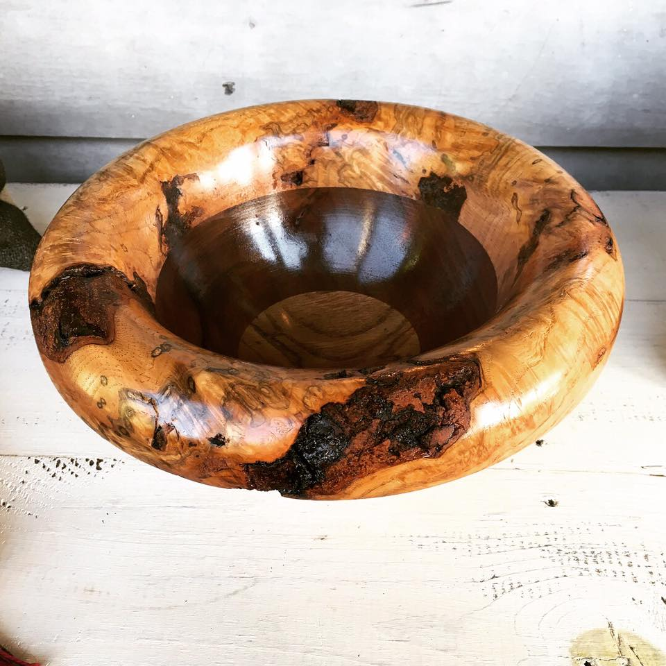 Turned Bowl - Red Oak Burl/Walnut
