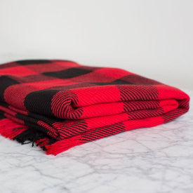 100% Cotton Rob Roy Check Throw - Red/Black