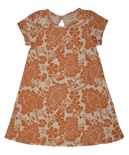 Teardrop T-Shirt Dress - Orange/Natural