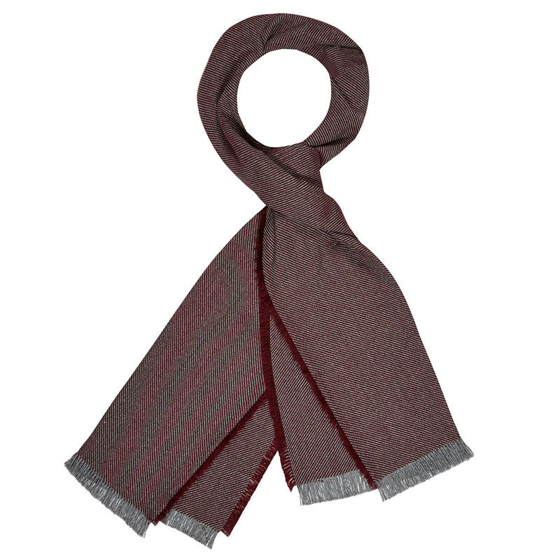 American-made Merino Wool Scarf - Twill Burgundy