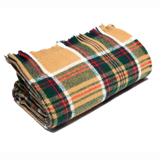 "American-made 100% Wool Throw Blanket - Wheat Stewart Tartan 56"" X 72"""